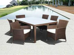 International Home Miami  Atlantic Wicker Rectangular Grey Seven Piece Grand New Liberty Deluxe Dining Set