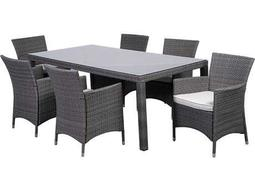 International Home Miami  Atlantic Wicker Rectangular Brown Seven Piece Grand New Liberty Deluxe Dining Set