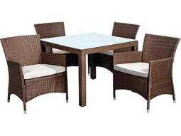 International Home Miami  Atlantic Wicker Square Grey Five Piece Grand New Liberty Deluxe Dining Set