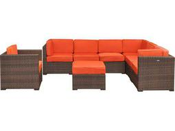 International Home Miami  Atlantic Wicker Eight Piece Marseille Sectional Set with Orange Cushions