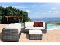 International Home Miami  Atlantic Wicker Five Piece Grey Nice Seating Set with Off-White Cushions
