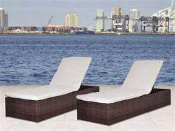 International Home Miami  Atlantic Wicker Dark Brown Two Piece Oxford Lounger Set