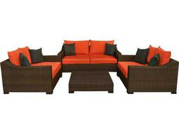 International Home Miami  Atlantic Wicker Dark Brown Four Piece Oxford Deep Seating Set with Orange Cushions