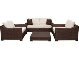 International Home Miami  Atlantic Wicker Dark Brown Four Piece Oxford Deep Seating Set with Off-White Cushions
