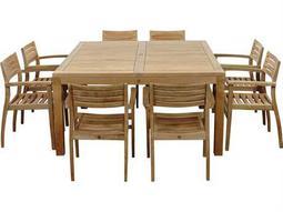 International Home Miami  Amazonia Teak Square Nine Piece Victoria Dining Set