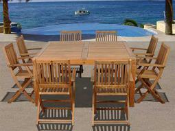International Home Miami  Amazonia Teak Square Nine Piece Dubai Dining Set