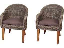 International Home Miami Amazonia Teak/Wicker Guam 2 Piece Arm Chair Set with Brown Cushions