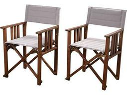 International Home Miami Amazonia 2 Piece Director Panama Chair Set Khaki - Price Includes Two Chairs