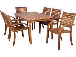 International Home Miami  Amazonia Eucalyptus Seven Piece Rectangular Arizona Dining Set