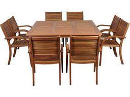 International Home Miami  Amazonia Eucalyptus Square Nine Piece Arizona Dining Set