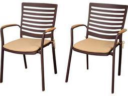 International Home Miami Amazonia  Teak/Cast Aluminum Clemente 4 Piece Arm Chair Set with Tan Cushions
