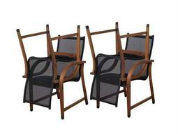 International Home Miami  Amazonia Bahamas 4 Piece Eucalyptus Arm Chair Set with Brown Sling Seat