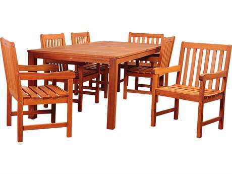 International Home Miami Amazonia Wood 6 Person Cushion Casual Patio Dining Set