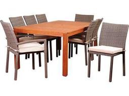 International Home Miami Amazonia Wodd & Wicker Vienna 9 Piece Eucalyptus Rectangular Dining Set with Off-White Cushions