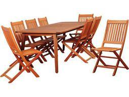 International Home Miami Amazonia Callahan 9 Piece Eucalyptus Rectangular Dining Set with Off-White Cushions