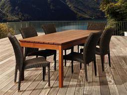 International Home Miami  Amazonia Eucalyptus & Wicker Rectangular Seven Piece Jamison Dining Set