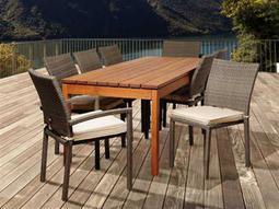 International Home Miami  Amazonia Eucalyptus & Wicker Rectangular Nine Piece Marchello Dining Set with Off-White Cushions