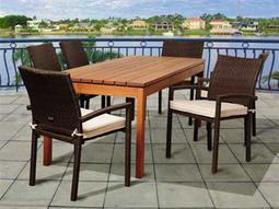 International Home Miami  Amazonia Eucalyptus & Wicker Rectangular Seven Piece Maynard Dining Set with Off-White Cushions