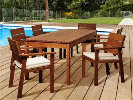 International Home Miami Amazonia Wood 6 Person Cushion Casual Patio Dining Set