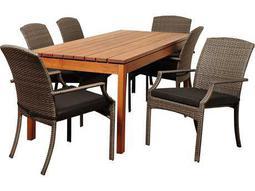 International Home Miami  Amazonia Eucalyptus & Wicker Rectangular Seven Piece Walton Dining Set with Grey Cushions