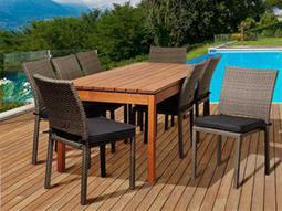 International Home Miami  Amazonia Eucalyptus & Wicker Rectangular Nine Piece LynEucalyptus Dining Set with Grey Cushions