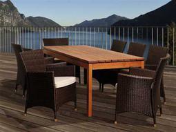 International Home Miami  Amazonia Eucalyptus & Wicker Rectangular Nine Piece Myles Dining Set with Off-White Cushions