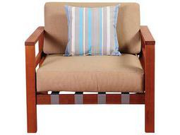 International Home Miami Amazonia Eucalyptus Derbyshire Eucalyptus Sectional Armchair with Khaki Cushions by Jamie Durie