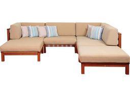 International Home Miami Amazonia Eucalyptus Derbyshire 6 Piece Eucalyptus Sectional Set with Khaki Cushions by Jamie Durie