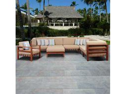 International Home Miami Amazonia Eucalyptus Derbyshire 8 Piece Eucalyptus Sectional Set with Khaki Cushions by Jamie Durie