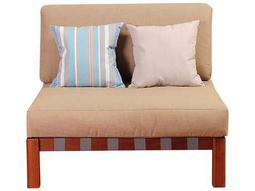 International Home Miami Amazonia Eucalyptus Derbyshire Eucalyptus Sectional Middle Piece with Khaki Cushions by Jamie Durie