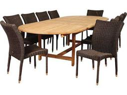 International Home Miami Amazonia Teak/Wicker District 11 Piece Double-Extendable Oval Dining Set