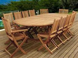 International Home Miami Amazonia Highland Park 13 Piece Teak Double-Extendable Oval Dining Set