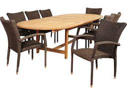 International Home Miami Amazonia Teak/Wicker Ocean Grove 9 Piece Double-Extendable Oval Dining Set