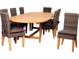 International Home Miami Amazonia Teak/Wicker Singapore 9 Piece Double-Extendable Oval Dining Set