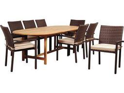 International Home Miami Amazonia Teak Santa Clarita 9 Piece Eucalyptus Rectangular Dining Set with Antique Beige Sunbrella® Cushions