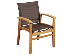 International Home Miami Amazonia Fortuna Teak Dining Armchair with Brown Textile Sling