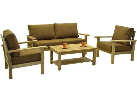 International Home Miami Amazonia Teak 4 Person Cushion Conversation Patio Lounge Set