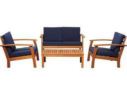 International Home Miami  Amazonia Eucalyptus Four Piece Murano Conversation Set with Blue Cushions