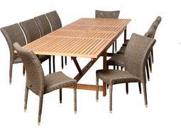 International Home Miami  Amazonia Eucalyptus & Wicker Rectangular 11 Piece Extendable Weston Dining Set