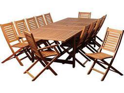 International Home Miami  Amazonia Eucalyptus Rectangular 13 Piece Extendable Brandon Dining Set