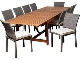 International Home Miami  Amazonia Eucalyptus & Wicker Rectangular 11 Piece Extendable Angelo Dining Set with Off-White Cushions