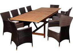 International Home Miami  Amazonia Eucalyptus & Wicker Rectangular 11 Piece Extendable August Dining Set with Off-White Cushions