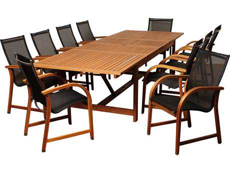 International Home Miami Amazonia Wood 8 or more Sling Casual Patio Dining Set