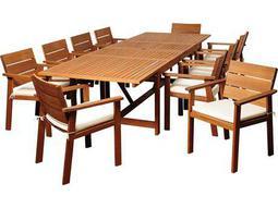 International Home Miami  Amazonia Eucalyptus Rectangular 11 Piece Extendable Gerald Dining Set with Off-White & Beige Striped Cushions