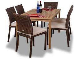 International Home Miami  Amazonia Teak & Wicker Rectangular Seven Piece Luxemburg Dining Set With Off-White Cushions