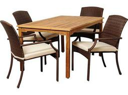 International Home Miami  Amazonia Teak/Wicker Rectangular Five Piece Vincenzo Dining Set with Off-White Cushions