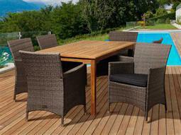 International Home Miami  Amazonia Teak/Wicker Rectangular Seven Piece Norris Dining Set with Grey Cushions