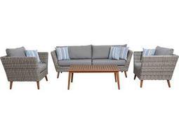 International Home Miami Amazonia Boston 4 Piece Conversation Set with Cushions