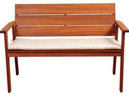 International Home Miami Amazonia Nelson 49 Eucalyptus  Bench with Striped Beige and Off-White Cushion