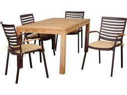 International Home Miami Amazonia Teak Clemente 5 Piece Eucalyptus Rectangular Dining Set